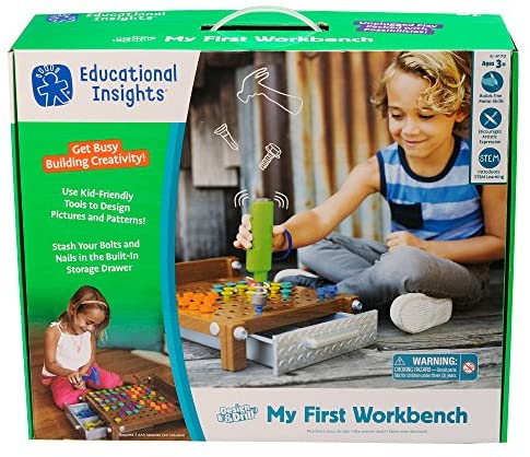 61dTSUJtpYL. AC  - Educational Insights Design & Drill My First Workbench, Drill Toy, STEM & Construction, 125 Pieces, Ages 3+
