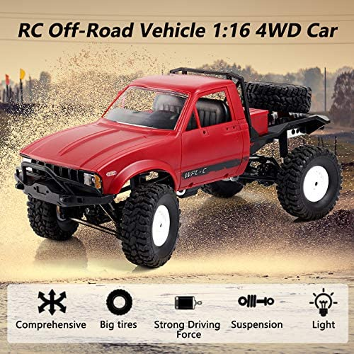 61lIQIQywHL. AC  - YIKESHU Rc Truck Remote Control Off-Road Racing Vehicles 1:16 2.4G 2CH 4WD Off-Road Kids RC Toy Climb Semi Truck RTR Trailer The LED Lights (Red)