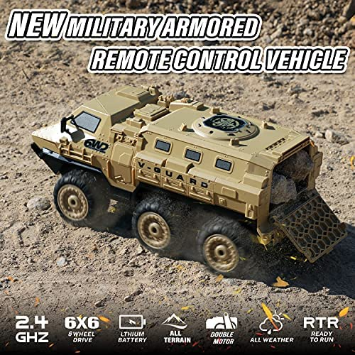 61lSTcsrcUS. AC  - RC Military Truck, RC Army Trucks, 120 Min Play 6WD 1/16 Scale RC Army Car, 2.4 GHz Remote Control High Speed Army Car, All-Terrain Off-Road Military Tank RC Car Vehicle for Adults Kids, 2 Batteries