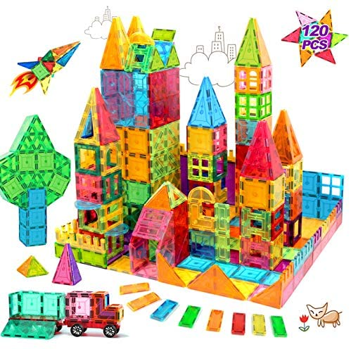 61mHjQ2pDiL. AC  - HOMOFY Kids Magnet Tiles Toys 2021 New Upgrade 120Pcs 3D Magnetic Building Blocks Magnetic Tiles, Inspiration Educational Building Construction Learning Gifts for 3 4 5 6 Year Old Boys Girls