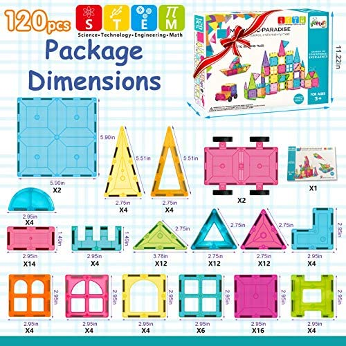 61mSMUqB0KL. AC  - HOMOFY Kids Magnet Tiles Toys 2021 New Upgrade 120Pcs 3D Magnetic Building Blocks Magnetic Tiles, Inspiration Educational Building Construction Learning Gifts for 3 4 5 6 Year Old Boys Girls