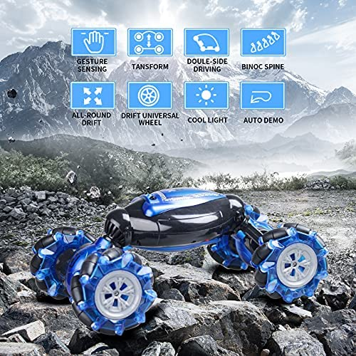 61qSqJH05cS. AC  - RC Stunt Car,1:12 Large RC Drift Car, 4WD 2.4G Gesture Sensing Control Double Sided Rotating Remote Control Car, 360° Flips Twisted Off Road RC Car with 2 Batteries, KB KAIBO Crawler RC Cars for Boys
