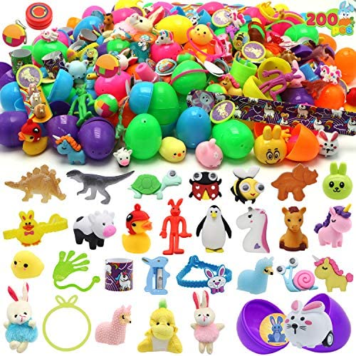 """61qcdVDfLFL. AC  - 200 Pcs Prefilled Colorful Easter Eggs w/Toys and Stickers Premium Hinged 2 3/8"""" for Kids Basket Stuffers Fillers, Easter Hunt Game, Toys Filling Treats and Easter Theme Party Favor"""