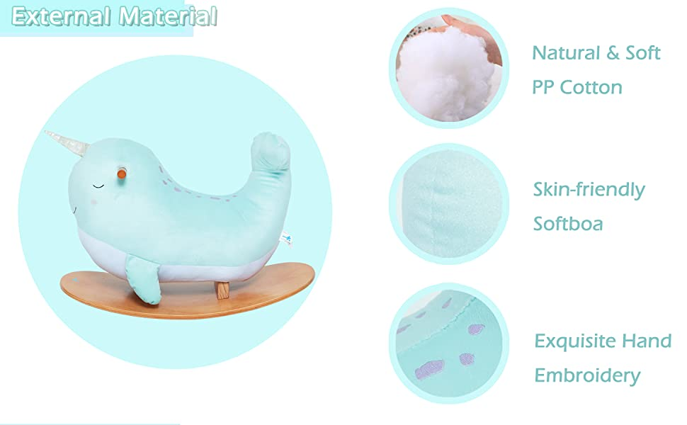 6e1fcb6e 445c 48ea 9dbc f0cd6a49c535.  CR0,0,1455,900 PT0 SX970 V1    - labebe -Narwhal Rocking Horse, Baby Wooden Rocking Chair for Child 1-3 Year Old, Kid Ride On Whale Rocker Animal Toy for Infant/Toddler Girl&Boy, Nursery Birthday Gift