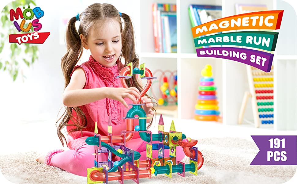718bc8e3 09db 4c67 9bb8 9b7d7ed5e4aa.  CR0,0,2910,1800 PT0 SX970 V1    - Magnetic Marble Run Building Set - 191 Piece - 3D Magnetic Tiles Ball Track -Building Kit Fun and Educational Toy STEAM Learning and Creativity Gift for Boys and Girls Ages 3 4 5 6 7 8 Years Old