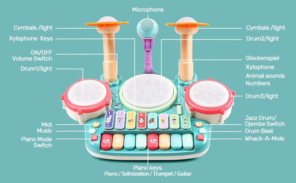 85d6f06e 1e16 4eac 848b 9582d69b51aa.  CR0,0,970,600 PT0 SX970 V1    - Besandy 5 in 1 Musical Instruments Toys - Kids Electronic Piano Keyboard Xylophone Drum Toys Set with Light 2 Microphone for Suitable for Children Over 3 Years Old