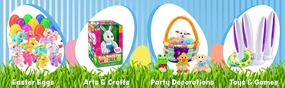 """865099ce 85bf 405c 9b0b 6edaa14b651c.  CR0,0,4042,1250 PT0 SX970 V1    - 200 Pcs Prefilled Colorful Easter Eggs w/Toys and Stickers Premium Hinged 2 3/8"""" for Kids Basket Stuffers Fillers, Easter Hunt Game, Toys Filling Treats and Easter Theme Party Favor"""