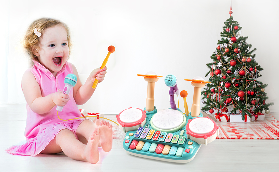 8b902878 df0a 42ad 81eb d6138cd02ac7.  CR0,0,970,600 PT0 SX970 V1    - Besandy 5 in 1 Musical Instruments Toys - Kids Electronic Piano Keyboard Xylophone Drum Toys Set with Light 2 Microphone for Suitable for Children Over 3 Years Old