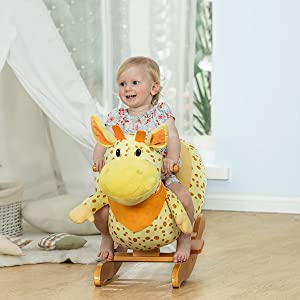 9283868f 070a 45ec 945e 593146a1afaf. CR0,0,600,600 PT0 SX300   - labebe - Baby Rocking Horse, Plush Baby Rocker, Ride on Toy for 1-3 Year Old, Kid Wooden Rocking Horse, Nursery/Toddler/Infant Rocking Animal, First Rocking Horse for Baby Girl/Boy - Giraffe Rocker