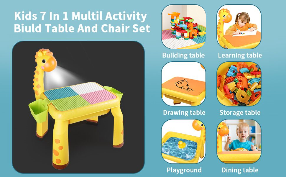 97fd5e9e 3054 4072 ba24 2173f38dccef.  CR0,0,970,600 PT0 SX970 V1    - Toddler Kids Activity Table Set Table and Chairs Set with Storage,8-in-1 Multi Activity Table Set, Large Building Blocks Compatible Bricks Toy, Toddlers Activity for Boys Girls, USB Supply with Light