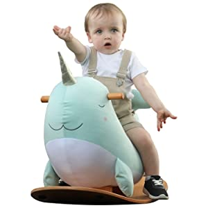 99ad5978 5082 4657 bce0 e1254260298d.  CR0,0,1500,1500 PT0 SX300 V1    - labebe -Narwhal Rocking Horse, Baby Wooden Rocking Chair for Child 1-3 Year Old, Kid Ride On Whale Rocker Animal Toy for Infant/Toddler Girl&Boy, Nursery Birthday Gift