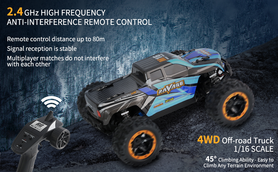 9e804b8a bfaa 46b0 b6aa 7073a5859d8b.  CR0,0,970,600 PT0 SX970 V1    - RC Cars, Fcoreey RC Truck 1:16 Remote Control Car for Boys, 40 Km/h High Speed Racing Car, 2.4 GHz 4x4 Off Road Monster Truck, Electric Vehicle with LEDs, Hobby Car Toy Gift for Adults Kids Girl