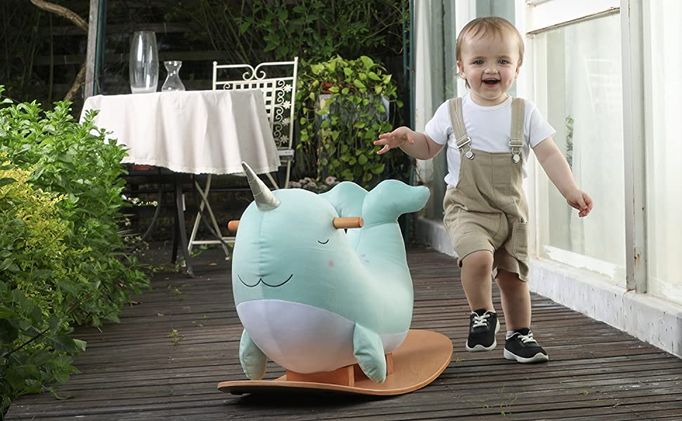a10d38a5 9732 4569 aa83 37253e750f9e.  CR0,0,1455,900 PT0 SX970 V1    - labebe -Narwhal Rocking Horse, Baby Wooden Rocking Chair for Child 1-3 Year Old, Kid Ride On Whale Rocker Animal Toy for Infant/Toddler Girl&Boy, Nursery Birthday Gift