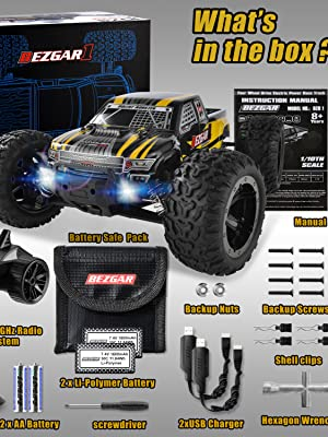a3a2dc6b ecd0 40c3 bc22 17818ca07b41.  CR641,0,2250,3000 PT0 SX300 V1    - BEZGAR 1 Hobby Grade 1:10 Scale Remote Control Truck, 4WD High Speed 48+ kmh All Terrains Electric Toy Off Road RC Monster Vehicle Car Crawler with 2 Rechargeable Batteries for Boys Kids and Adults