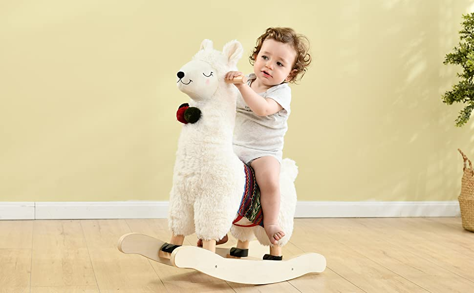 bccc3bd3 317f 4d68 bece 988aee16d6c2.  CR0,0,1455,900 PT0 SX970 V1    - labebe - Baby Rocking Horse Wooden, Plush Stuffed Rocking Animals White, Kid Ride on Toys for 1-3 Years Old, Llama Rocking Horse for Girl&Boy, Toddler/Infant Rocker for Nursery, Kid Riding Toys/Horse