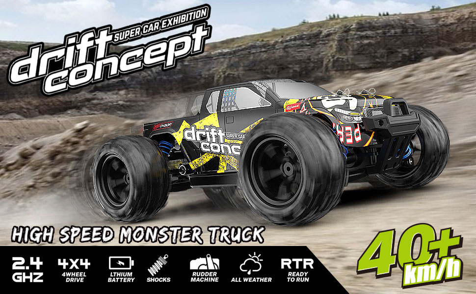 cb9783e5 8879 4416 9e88 34ef51c337ba.  CR0,0,970,600 PT0 SX970 V1    - SZJJX RC Cars 40+ KM/H High Speed Remote Control Car 4WD RC Monster Truck for Adults, All Terrain Off Road Toy Truck with Extra Shell 2 Batteries, 40+ Min Play Car Gifts for Kids