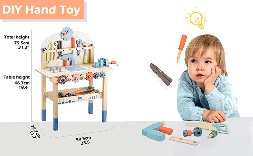 dc8fab90 7e79 4f0d 97ec 3186059ac557.  CR0,0,1455,900 PT0 SX970 V1    - JOLIE VALLÉE TOYS & HOME Workbench Wooden,Tool Bench for Kids Toy Play -Tool Bench Workshop Workbench with Tools Set Wooden Construction Bench Toy for 3 4 5 Year Old Boys Girls