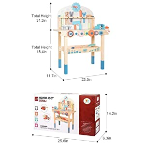df781318 04c3 4d44 b7ad df660d1aca9d.  CR0,0,1039,1039 PT0 SX300 V1    - JOLIE VALLÉE TOYS & HOME Workbench Wooden,Tool Bench for Kids Toy Play -Tool Bench Workshop Workbench with Tools Set Wooden Construction Bench Toy for 3 4 5 Year Old Boys Girls
