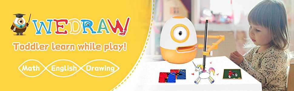 e281ce22 10e1 4204 b5eb 96a63c107d8b.  CR0,0,1600,495 PT0 SX970 V1    - WEDRAW Toddler Learning Educational Toys for 3 4 5 year old kids,Interactive Talking Drawing Robot Teach Math Sight Words Preschool Kindergarten Learning Activities Toy Gift for Girls and Boys Age 3-5