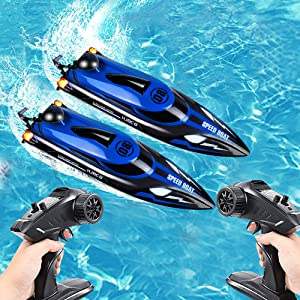 0070c735 302a 4927 a5ac 39ed1f98efa1.  CR0,0,500,500 PT0 SX300 V1    - HONGXUNJIE 2.4Ghz High Speed RC Boat-HJ808 18mph Remote Control Racing Boat for Kids and Adults for Lakes and Pools with Double Batteries Double Charger Cables (Blue)