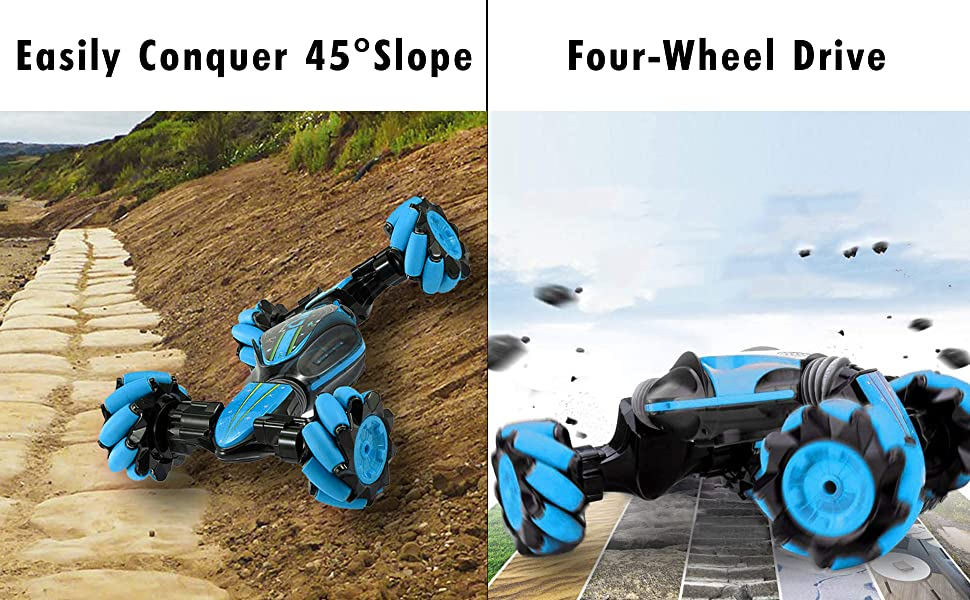02420bca d882 4b34 994d 3bbc70b7b2ab.  CR0,0,1940,1200 PT0 SX970 V1    - Boxgear Gesture Sensing RC Stunt Car with Off-Road, Four-Wheel Drive, Sports Mode, 40 Min Standby Suitable for Any Terrain, 2.4G Gesture Controlled Double-Sided Remote-Control Car Toy for Kids, Blue