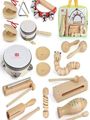 0369c436 e268 499c 8fde dd9b1f4db33a.  CR0,18,300,400 PT0 SX300 V1    - Kids Toddler Musical Instruments, Toddlers 100% Natural Wooden Music Percussion Toy Sets for Childrens Preschool Educational Age3-8 Early Learning, Musical Toys with Bags Boys and Girls