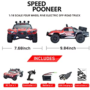 0ae7b9eb 9917 4b60 a311 6c66689717ce.  CR0,0,1500,1500 PT0 SX300 V1    - VOLANTEXRC 1:18 Scale All Terrain RC Car 40 KM/H High Speed 4WD RC Truck with 2.4 GHz Remote Control Off Road RC Monster Vehicle Truck Crawler with Two Rechargeable Batteries for Boys Kids and Adults