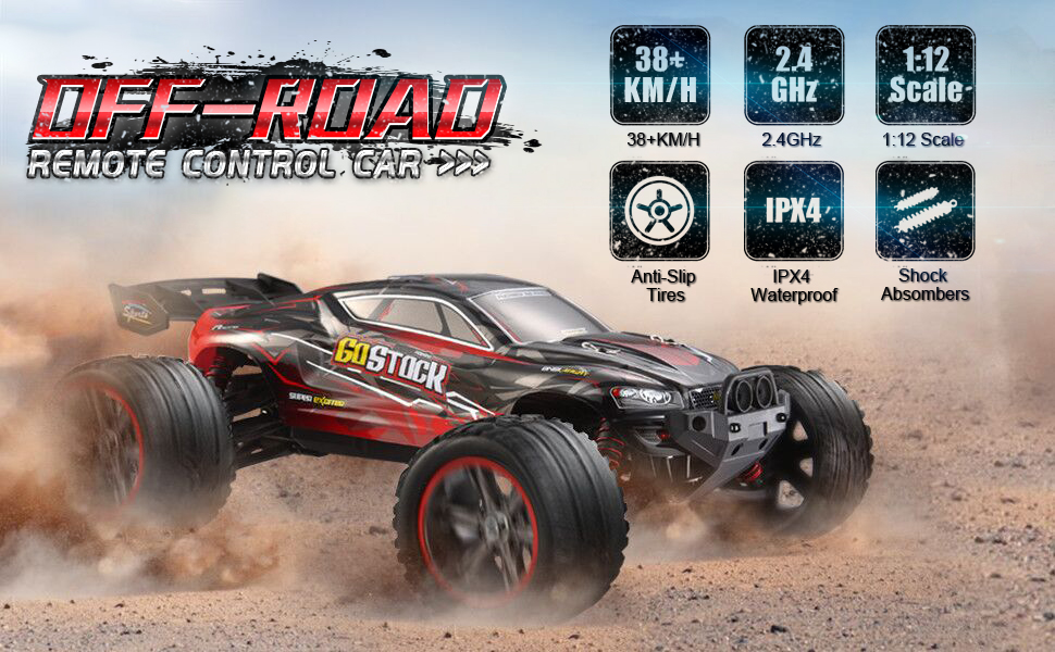 1661d294 965f 400e 9727 c44f166dc1fd.  CR0,0,970,600 PT0 SX970 V1    - GoStock Remote Control Car, 1:12 Scale Fast 38km/h RC Car, 2.4Ghz Off-Road RC Trucks, Remote Control Truck Monster Truck for Boys & Kids Adult