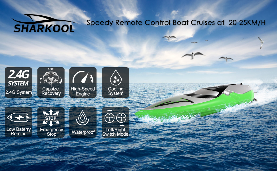 1b62506d 69d6 4ebd ab8c f4025c8b325f.  CR0,0,970,600 PT0 SX970 V1    - RC Boat [Upgraded 2021] - SHARKOOL 2.4 GHZ 25+ MPH Remote Control Boat, Fast RC Boats for Adults and Kids, Remote Controlled Boat for Pools and Lakes with 2 Rechargeable Batteries