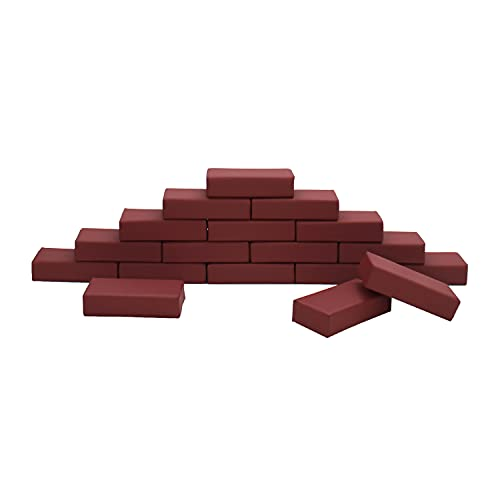 21GX5A7dQXS - FDP SoftScape Brick Building Block Set, Stacking Soft Foam Bricks for Toddlers and Kids; Growing Imaginations and Motor Skills (18-Piece) - Burgundy