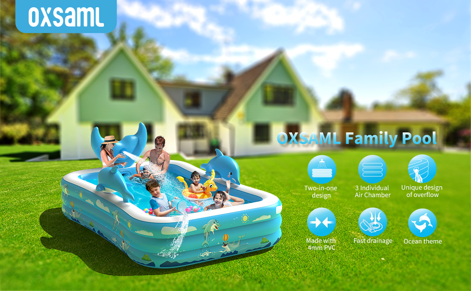 """244ce1a3 7cd8 486d a2cb e074282e0f28.  CR0,0,970,600 PT0 SX970 V1    - Inflatable Pool for Kids Family Oxsaml 98"""" x 71"""" x 22 """" Kiddie Pool with Splash, Swimming Pools Above Ground, Backyard, Garden, Summer Water Party"""