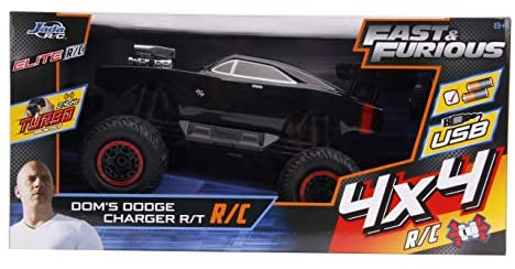 41+nH dAkjL. AC  - Fast & Furious 1:12 4x4 Dom's Dodge Charger Elite RC Remote Control Car 2.4 Ghz, Toys for Kids and Adults