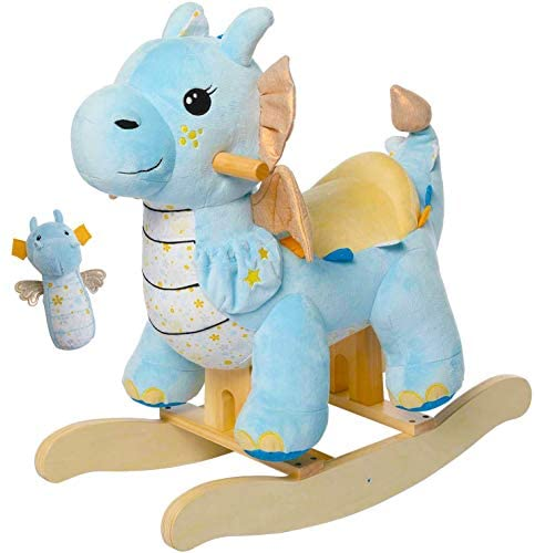 410v3qRBvlL. AC  - labebe - Baby Rocking Horse, Child Blue Winged Dragon Rocker, Toddler Ride on Toys for Kid 1-3 Years Old, Wooden Rocking Chair Animal for Girl&Boy