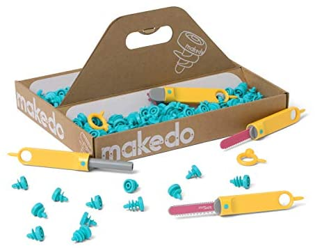 411jwyMN 8L. AC  - Makedo Discover Toolbox | Cardboard Construction Tools for Kids Age 7+ | 126 Piece Toolkit in Medium Sized Toolbox | Versatile Masks to Mazes Building Kit | Perfect for at Home Creative Play |
