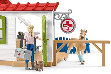412BazwnS4L. AC  - Schleich Farm World 27-piece Vet Practice Playset with Animal Toys for Kids Ages 3-8