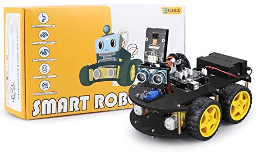 414M6WT2UPL. AC  - ELEGOO UNO R3 Project Smart Robot Car Kit V4.0 with UNO R3, Line Tracking Module, IR Remote Control Module etc. Intelligent and Educational Toy Car Robotic Kit Compatible with Arduino Learner