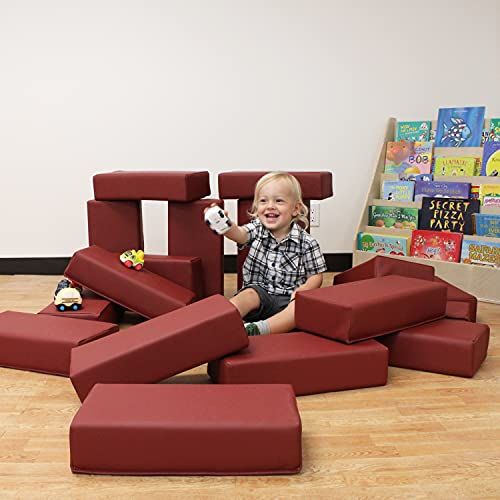41BLDmb9TJS - FDP SoftScape Brick Building Block Set, Stacking Soft Foam Bricks for Toddlers and Kids; Growing Imaginations and Motor Skills (18-Piece) - Burgundy