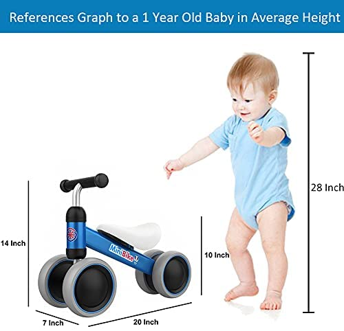 41C96P6T4NS. AC  - Baby Balance Bikes 10-24 Month Children Walker | Toys for 1 Year Old Boys Girls | No Pedal Infant 4 Wheels Toddler Bicycle | Best First Birthday New Year Holiday