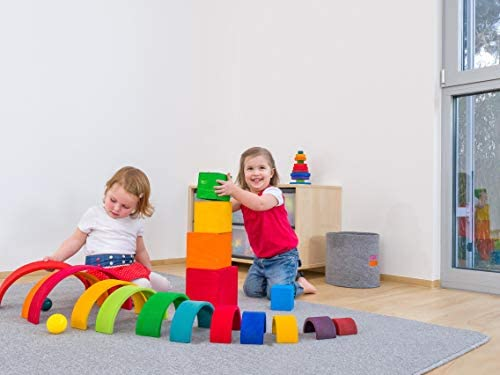 41CotwQnSIL. AC  - Grimm's Large 12-Piece Rainbow Stacker - Wooden Nesting Puzzle/Creative Building Blocks