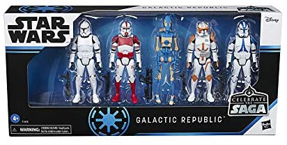 41HBnwr0mLL. AC  - Star Wars Celebrate The Saga Toys Galactic Republic Figure Set, 3.75-Inch-Scale Collectible Action Figure 5-Pack for Kids Ages 4 and Up
