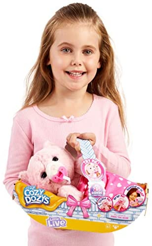 41HGvVP4 EL. AC  - Little Live Pets Cozy Dozy Pinki The Bear - Over 25 Sounds and Reactions | Bedtime Buddies, Blanket and Pacifier Included | Stuffed Animal, Best Nap Time, Interactive Teddy Bear