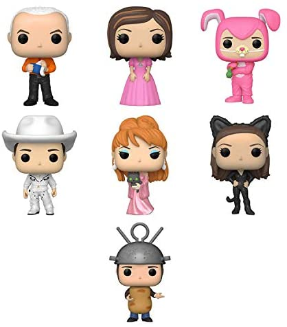 41HsNPO4SYL. AC  - Funko Pop! TV Set of 7 - Friends: Gunther, Rachel in Pink Dress, Chandler as Bunny, Cowboy Joey, Music Video Phoebe, Monica as Catwoman and Ross as Sputnik