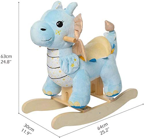 41RImuZ1WdL. AC  - labebe - Baby Rocking Horse, Child Blue Winged Dragon Rocker, Toddler Ride on Toys for Kid 1-3 Years Old, Wooden Rocking Chair Animal for Girl&Boy