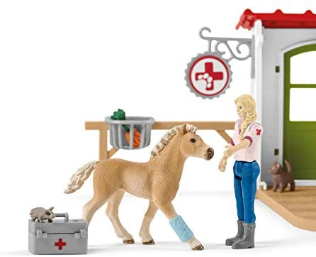 41fe1diw1YL. AC  - Schleich Farm World 27-piece Vet Practice Playset with Animal Toys for Kids Ages 3-8
