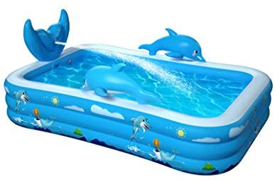 """41iW7bY60QL. AC  - Inflatable Pool for Kids Family Oxsaml 98"""" x 71"""" x 22 """" Kiddie Pool with Splash, Swimming Pools Above Ground, Backyard, Garden, Summer Water Party"""