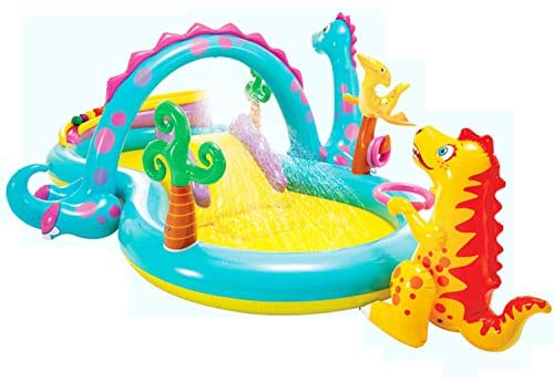 41l B12 mEL. AC  - Inflatable Kiddie Pool with Water Slide - 119in X 90in X 44in Dinosaur Inflatable Play Center, Above Ground Pool, Water Slides for Kids Backyard, Kids Pool Outdoor Toys w/ Splash for Ages 2+ Toddler