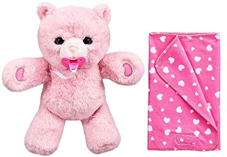 41xM3tqWhYL. AC  - Little Live Pets Cozy Dozy Pinki The Bear - Over 25 Sounds and Reactions | Bedtime Buddies, Blanket and Pacifier Included | Stuffed Animal, Best Nap Time, Interactive Teddy Bear