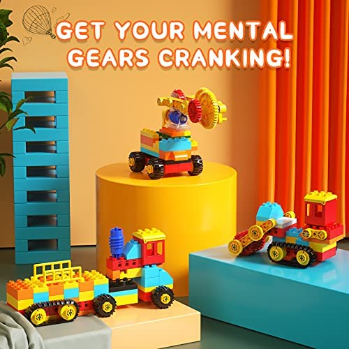 51+fF8D3iwS. AC  - burgkidz Gear Building Blocks Creative STEM Toys Learning Educational Engineering Construction Building Toys Set with Storage Box, 174 Piece Gears Building Set Gifts for Boys Girls