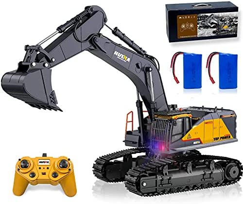 51+oGKXadsS. AC  - Remote Control Excavator Toy 1/14 Scale RC Excavator, 22 Channel Upgrade Full Functional Construction Vehicles Rechargeable RC Truck with Metal Shovel and Lights Sounds