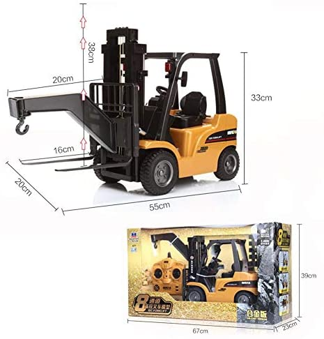 51  p4ijFtL. AC  - FXQIN Remote Control Forklift Construction Trucks Toys for Kids and Adults 1:10 Scale 8 Channel RC Forklift with LED Lights and Pallet Professional Engineering Vehicle Toys, Yellow